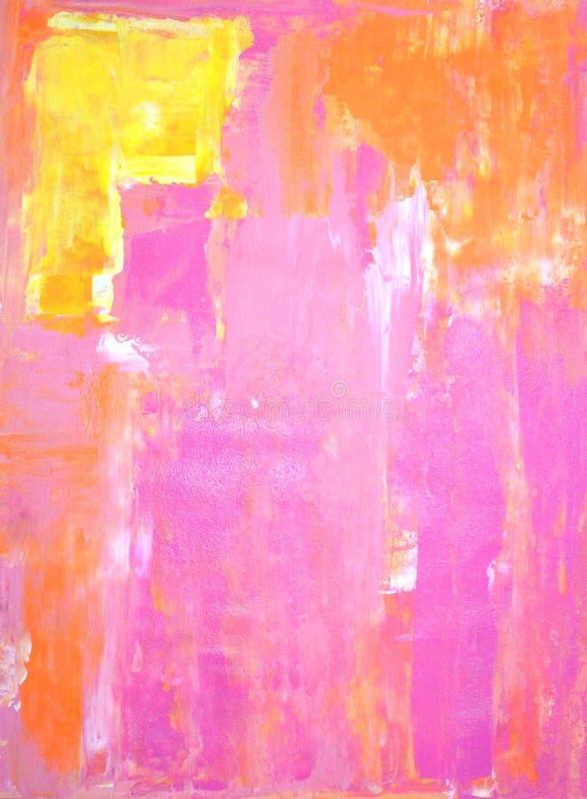 Rosa e Art Painting abstrato alaranjado ilustração do vetor