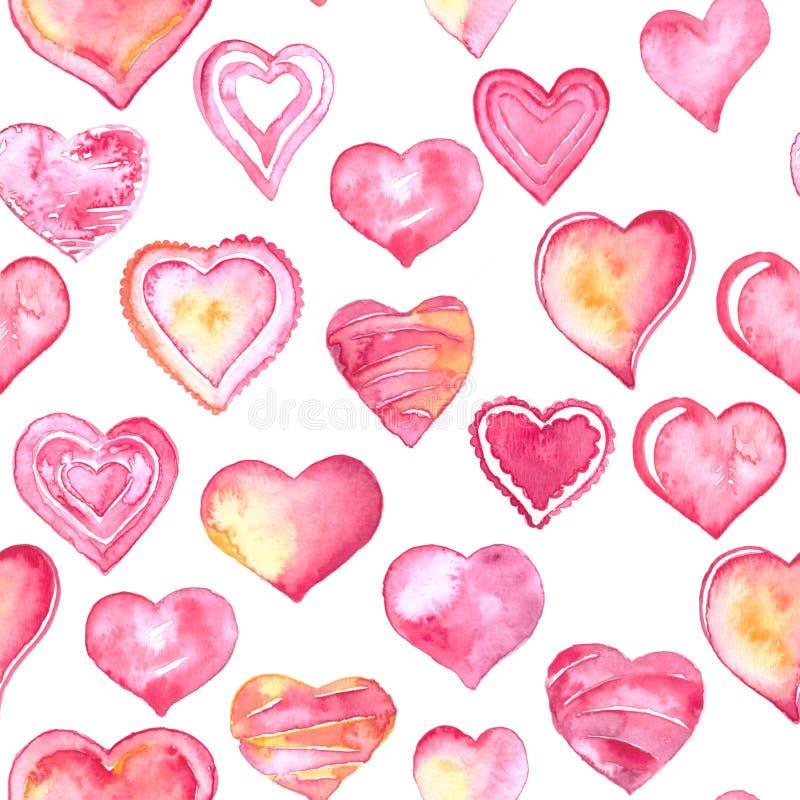 Rosa e corações vermelhos da aquarela no teste padrão sem emenda do fundo branco ilustração royalty free