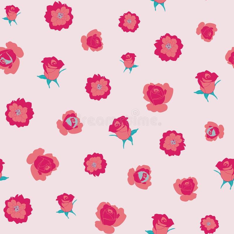 Rosa e fiori di corallo illustrazione vettoriale