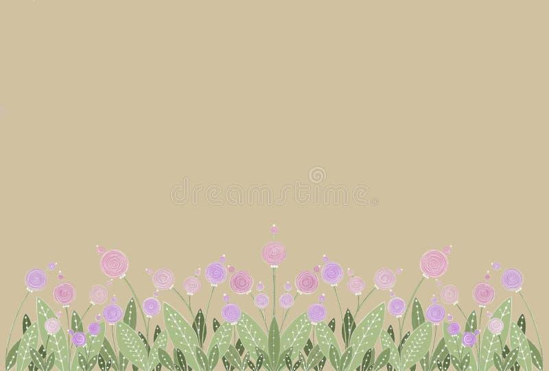 Rosa e fiori lilla su fondo beige royalty illustrazione gratis