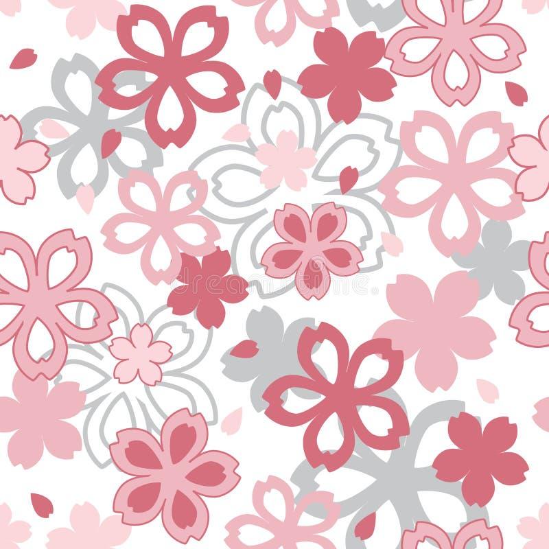 Rosa e Grey Cherry Blossom Seamless Pattern illustrazione vettoriale