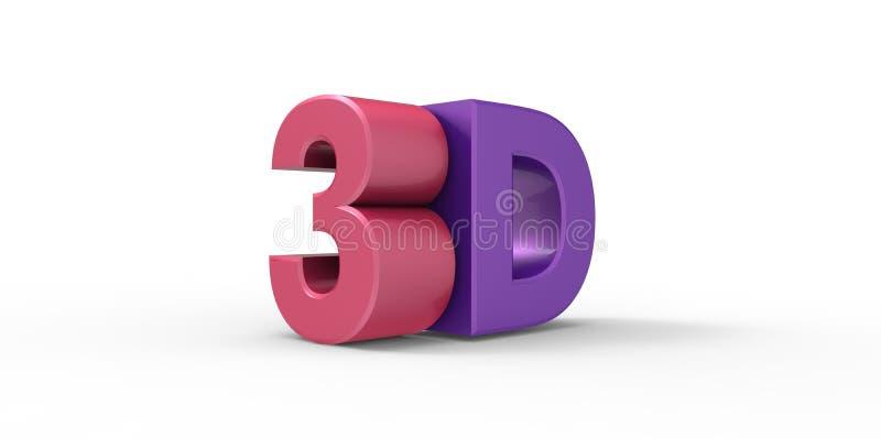 Rosa e logotipo 3D metálico roxo isolados no fundo branco com efeito da reflexão ilustração royalty free