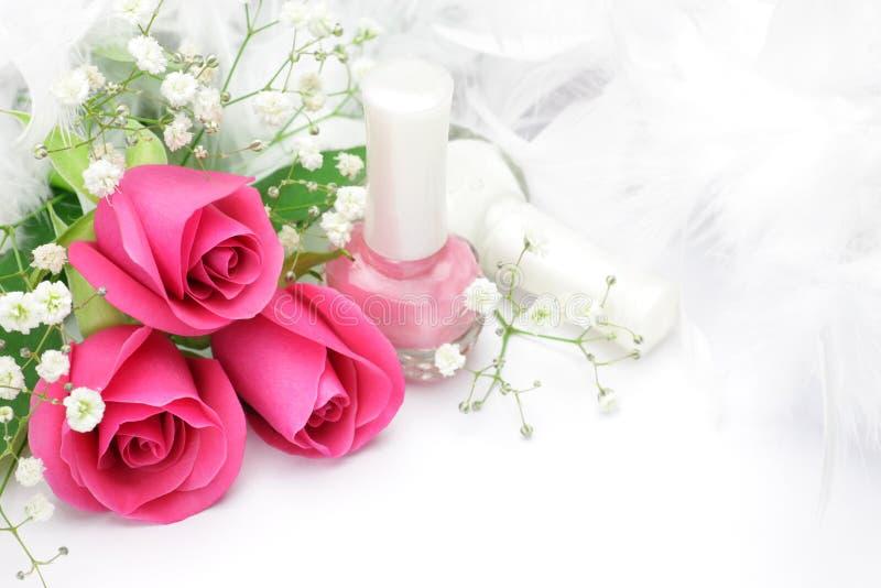 Rosa e manicure immagine stock