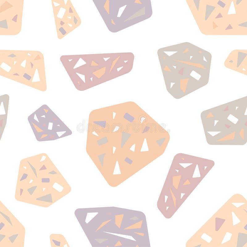 Rosa e pedras cinzentas Teste padrão sem emenda cor-de-rosa delicado Tend?ncia 2019 ilustração stock