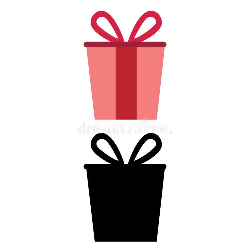 Rosa e regalo nero per lei e lui royalty illustrazione gratis