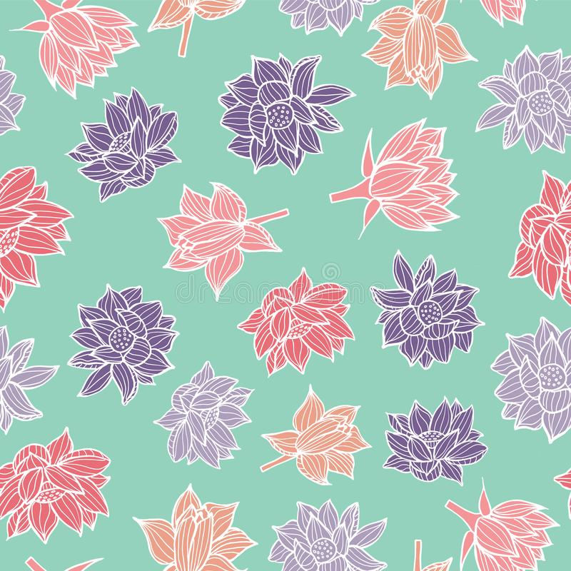 Rosa e waterlilies ou flores de lótus roxas na textura sem emenda azul do fundo do teste padrão do aqua em um estilo colorido mod ilustração do vetor