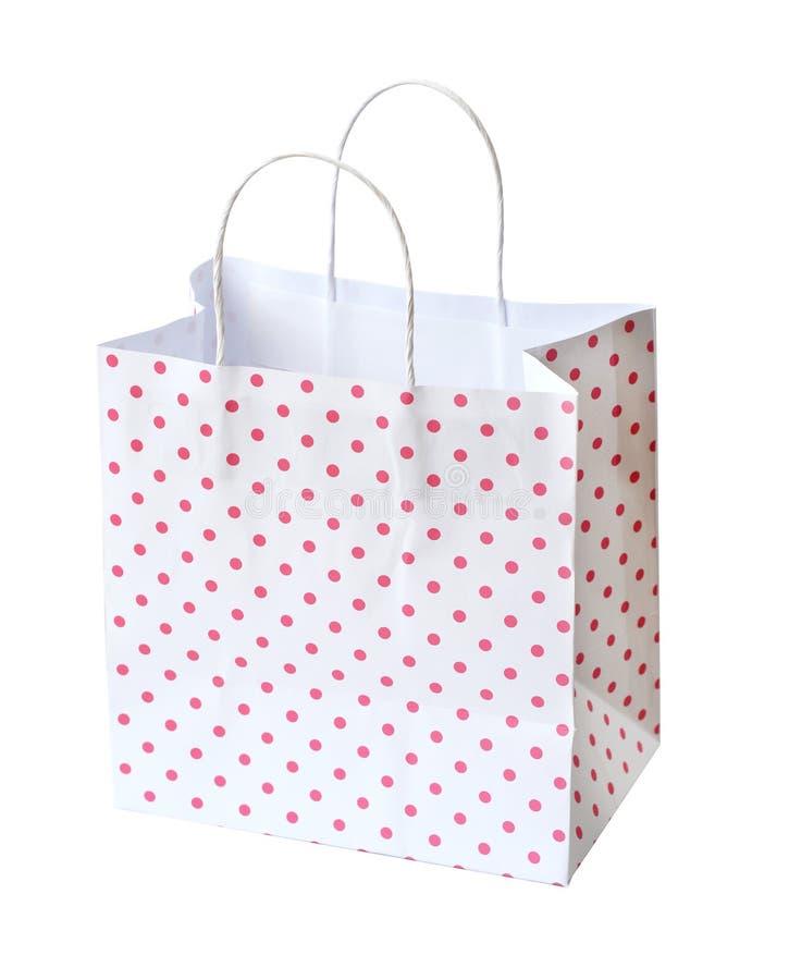 Rosa Einkaufstasche lokalisiert auf einem weißen Hintergrund (Beschneidungspfad) lizenzfreie stockbilder