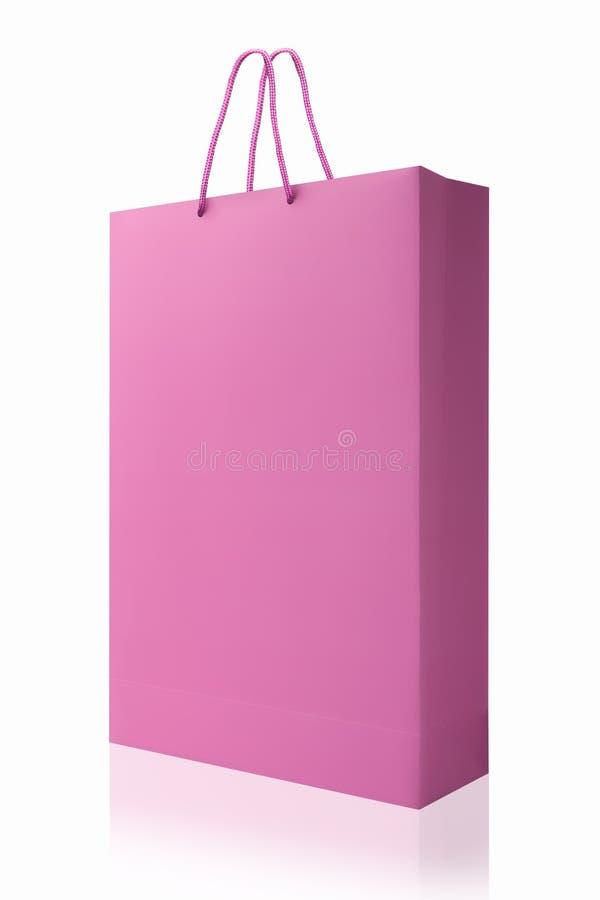 Rosa Einkaufstasche, lokalisiert mit Beschneidungspfad auf weißem backgrou lizenzfreie stockfotografie