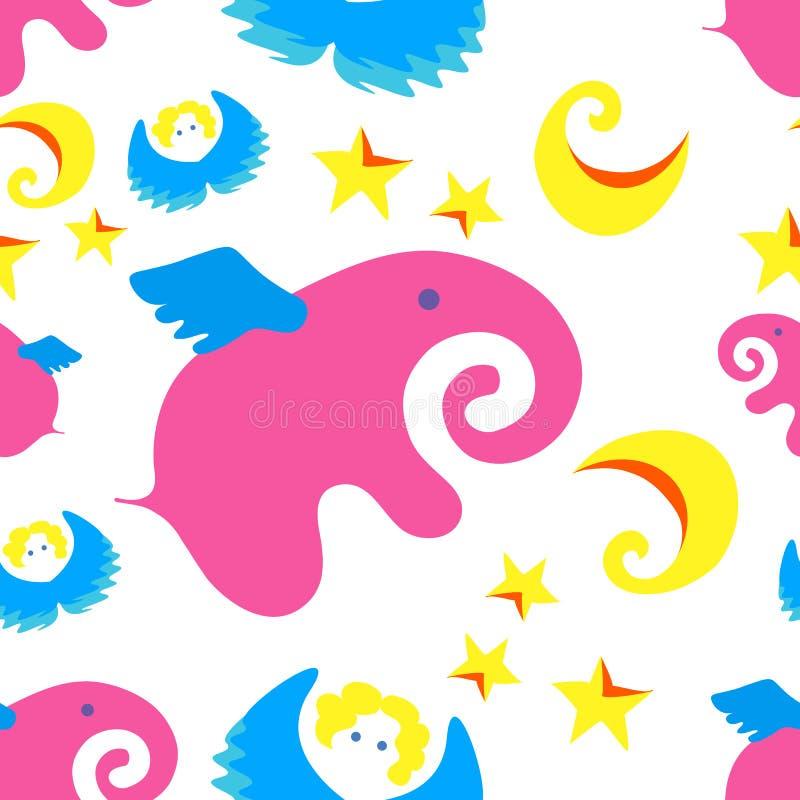 Rosa, elefante, anjo, estrelas, lua, fundo, teste padrão, ilustração, azul, crianças, o sta imagem de stock royalty free