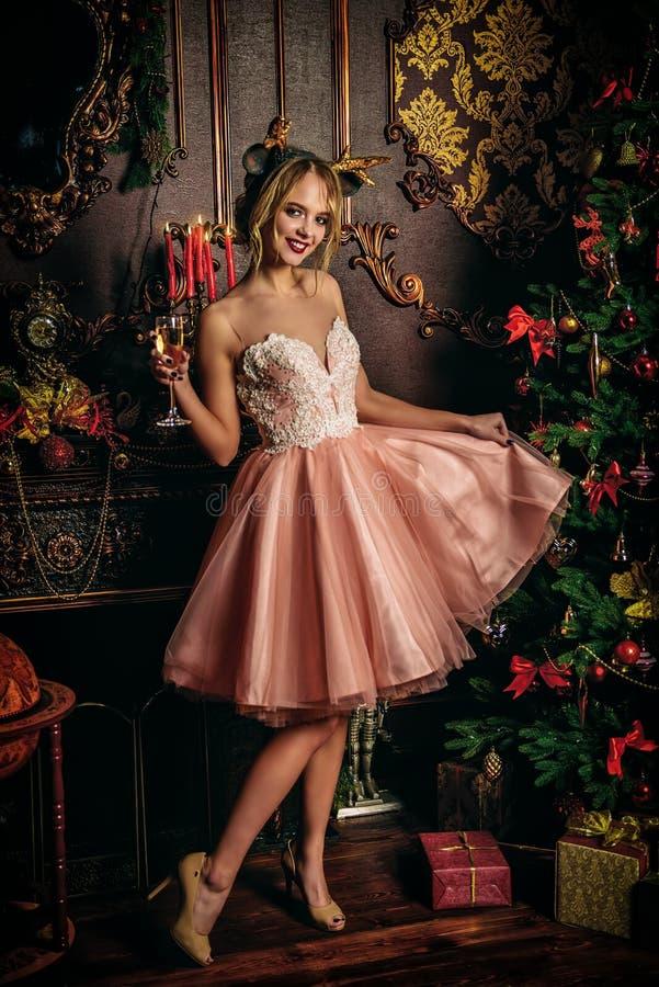 Rosa elegantes Kleid stockbilder