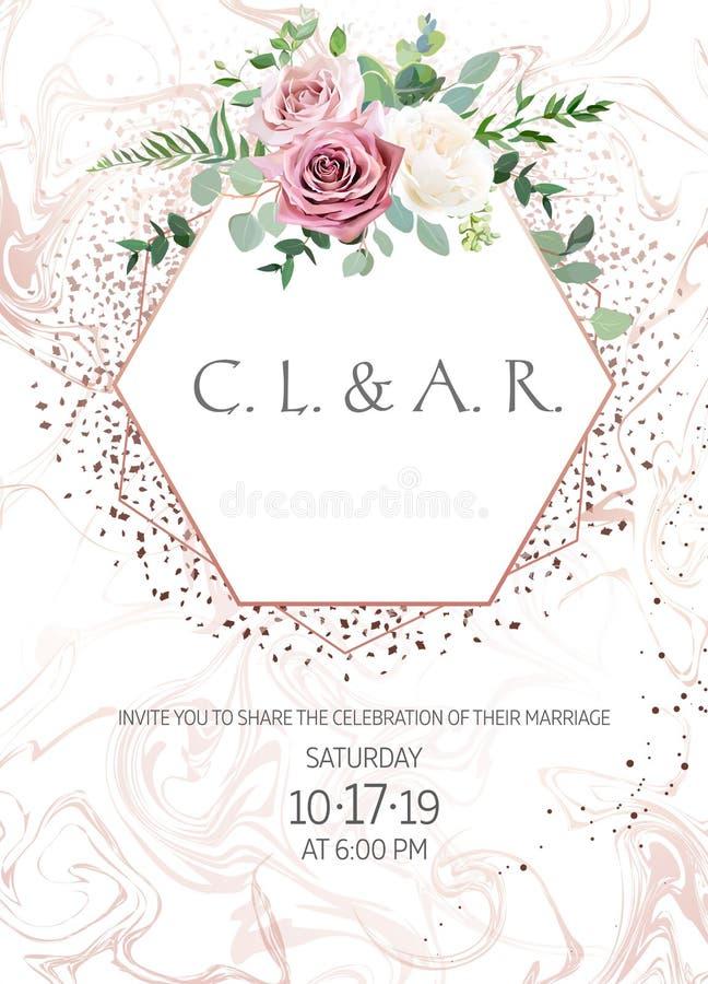 Rosa empoeirado, rosa antiga branco-amarelada, quadro pálido do casamento do projeto do vetor das flores ilustração do vetor