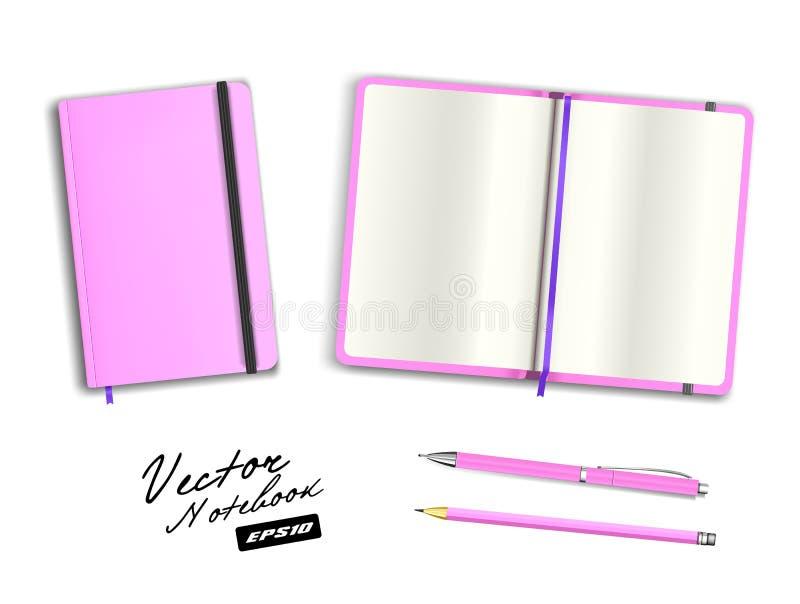 Rosa en blanco abierto y plantilla cerrada del cuaderno con la banda elástica y la señal Pluma y lápiz realistas del rosa del esp imagenes de archivo