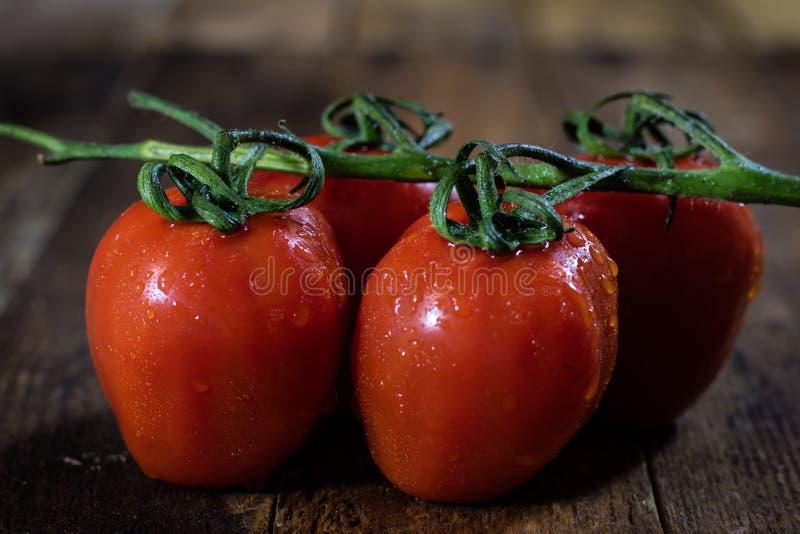 Rosa en los tomates italianos sabrosos, tabla de madera imagenes de archivo