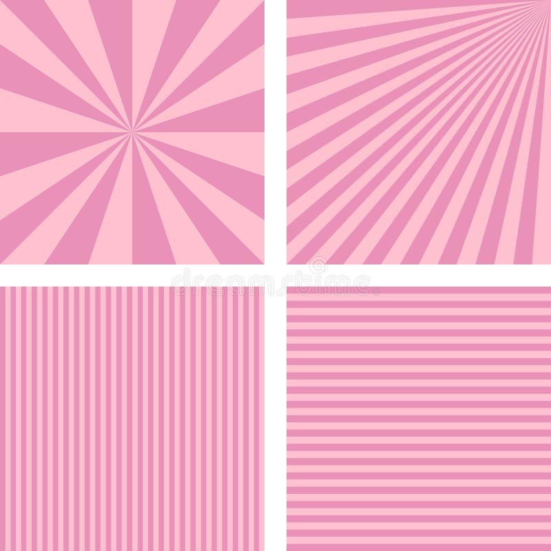 Rosa enkel randig bakgrundsuppsättning för tappning vektor illustrationer
