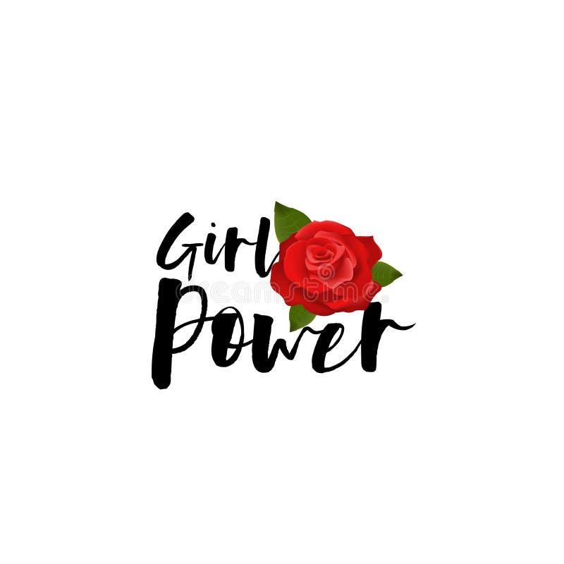 Rosa escrita à mão do vermelho da rotulação do poder da menina ilustração stock