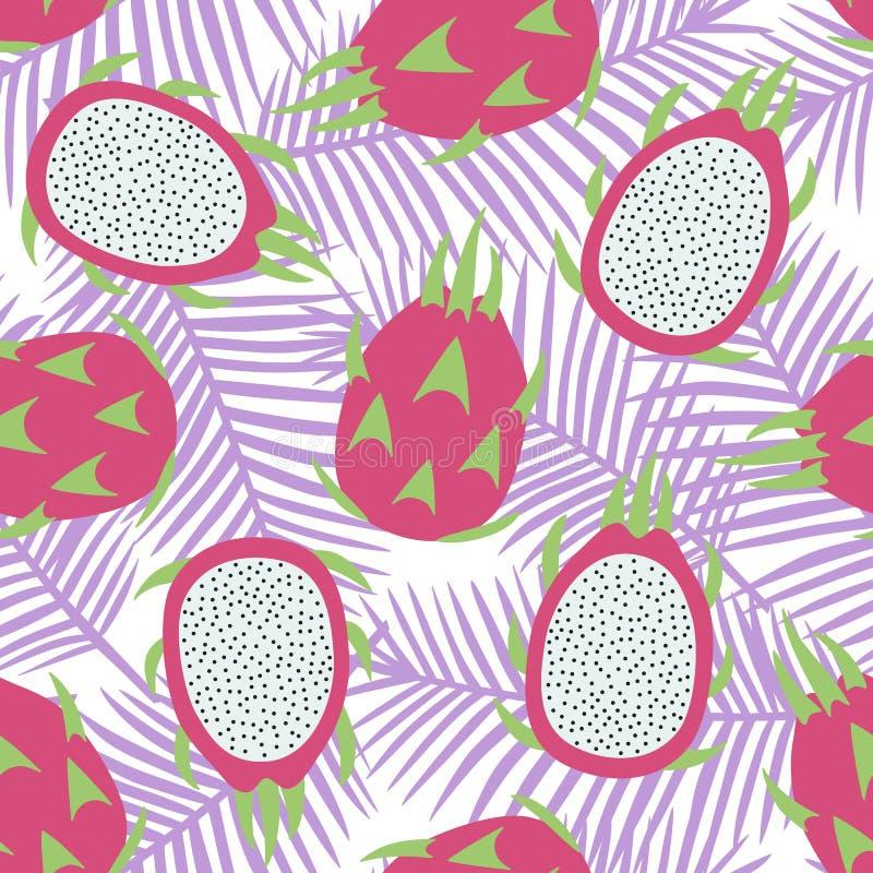 Rosa exótico tropical inteiro doce do fruto do fruto do dragão e do fruto do dragão do corte com o pitaya das sementes no ver ilustração do vetor