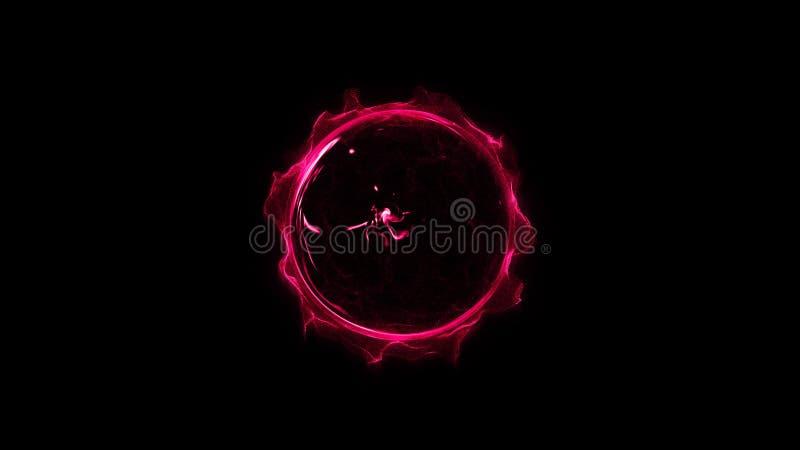 Rosa, explosão de poeira poderosa de incandescência shinning circular vermelha do efeito da faísca clara do anel ilustração stock