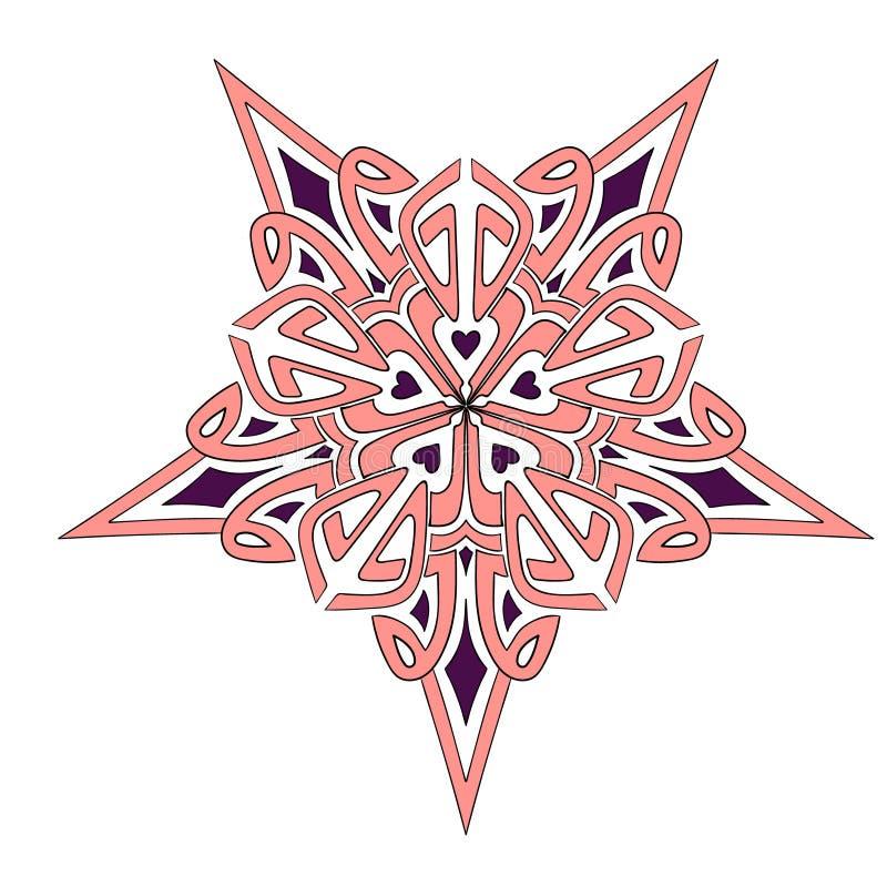Rosa färg-Bourgogne för Mandalageometristjärna royaltyfri fotografi