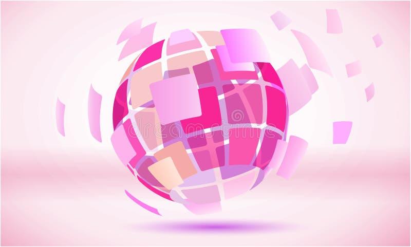 Rosa färg kvadrerat abstrakt jordklotspheresymbol stock illustrationer