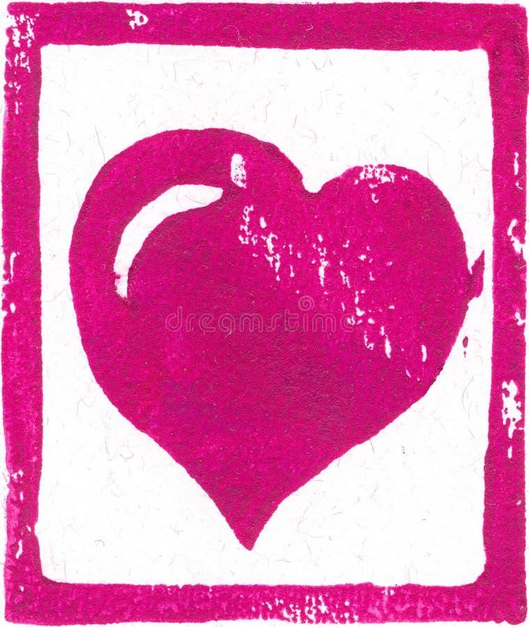 Rosa färg-lilor hjärta - Linocut tryck royaltyfri bild