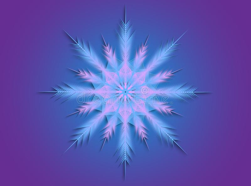 Rosa färg- och blåttsnöflinga arkivfoto