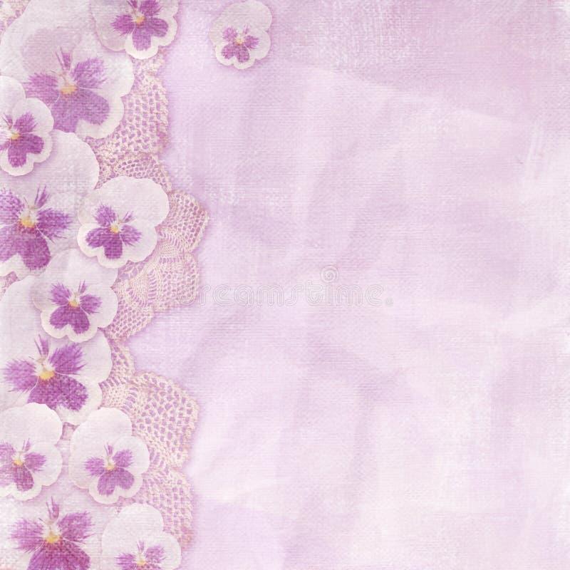 Rosa färg texturerar med flera pansies royaltyfri illustrationer