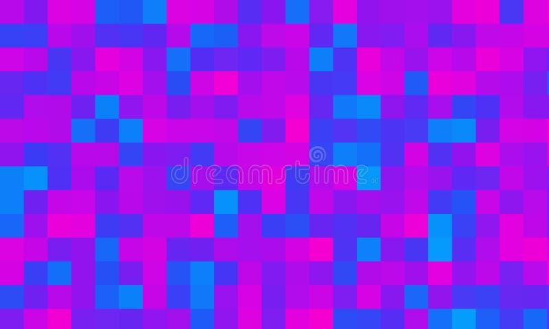 Rosa färgblått kvadrerar geometrisk tapetbakgrund för PIXEL royaltyfri illustrationer