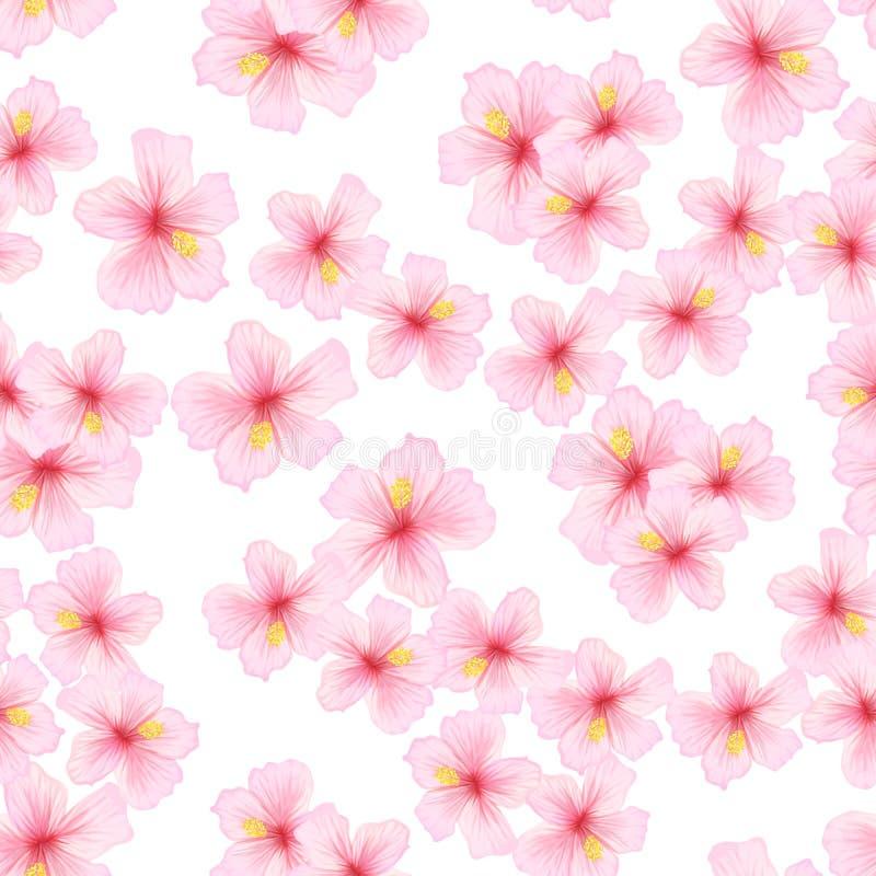 Rosa färgblomma, sakura sömlös modell Japansk körsbärsröd blomning för tygtextildesign stock illustrationer