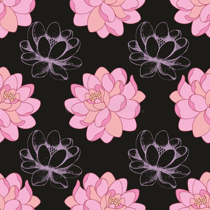 Rosa färgen blommar på en svart bakgrund i kombination med en handteckning seamless vektor för modell royaltyfri illustrationer