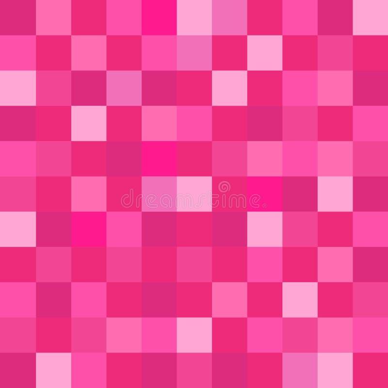 Rosa färgen kvadrerar geometrisk tapetbakgrund för PIXEL royaltyfri illustrationer