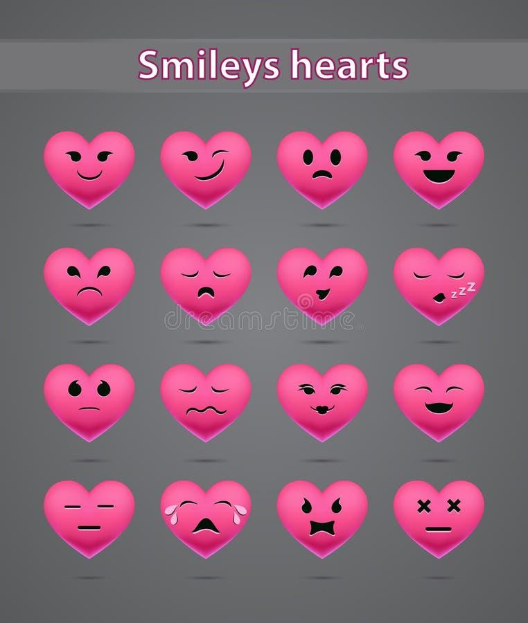 Rosa färgen ler på dagen av valentin stock illustrationer