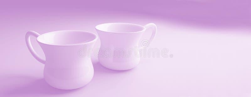 Rosa färgen rånar bakgrund för kaffekoppar royaltyfri illustrationer