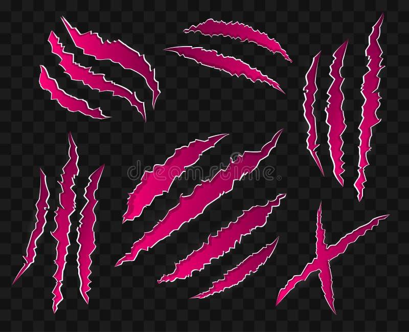 Rosa färgen skrapar på genomskinlig bakgrund - - den moderna uppsättningen av vektorsymboler royaltyfri illustrationer