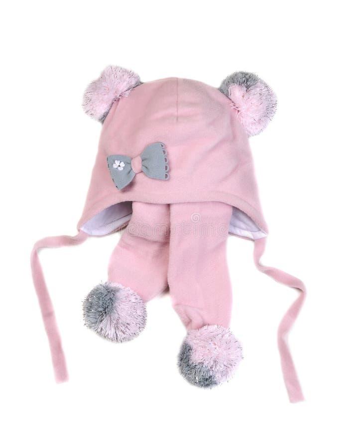 Rosa färger behandla som ett barn hatten med halsduken royaltyfria bilder