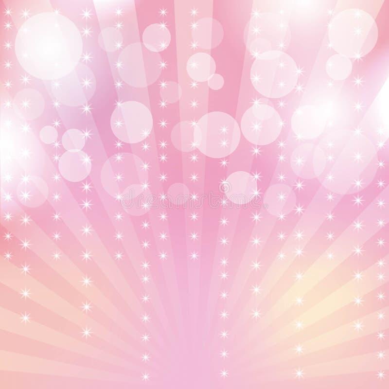 Rosa färger blänker mousserar strålljusbokeh och festlig abstrakt bakgrund för stjärna stock illustrationer