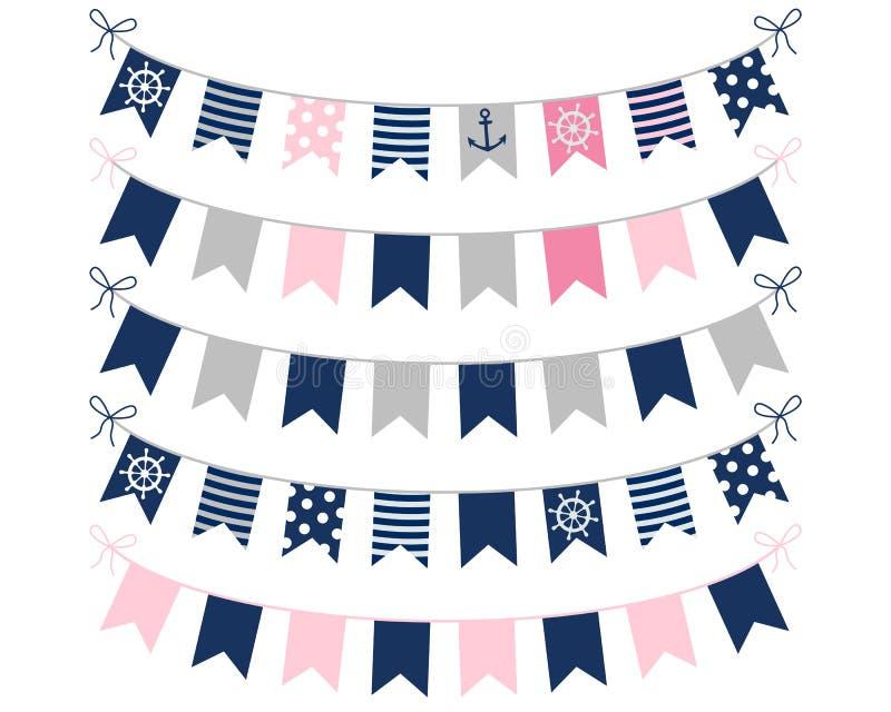 Rosa färger, blått och gråa nautiska buntings stock illustrationer