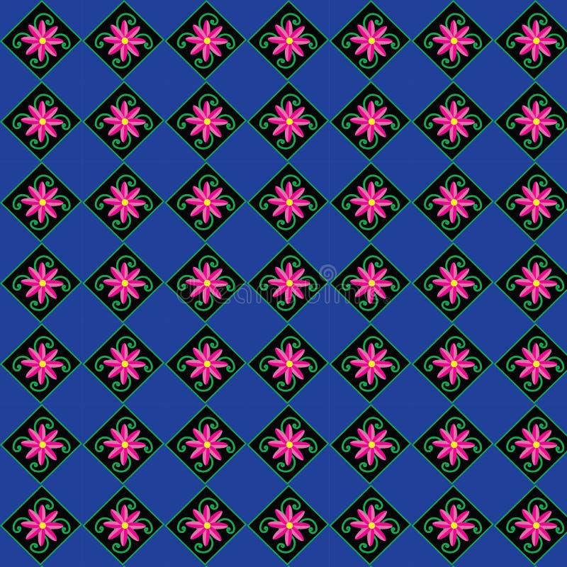 Rosa färger blommar, den gröna stammen, blå bakgrund, modell, vektor illustrationer