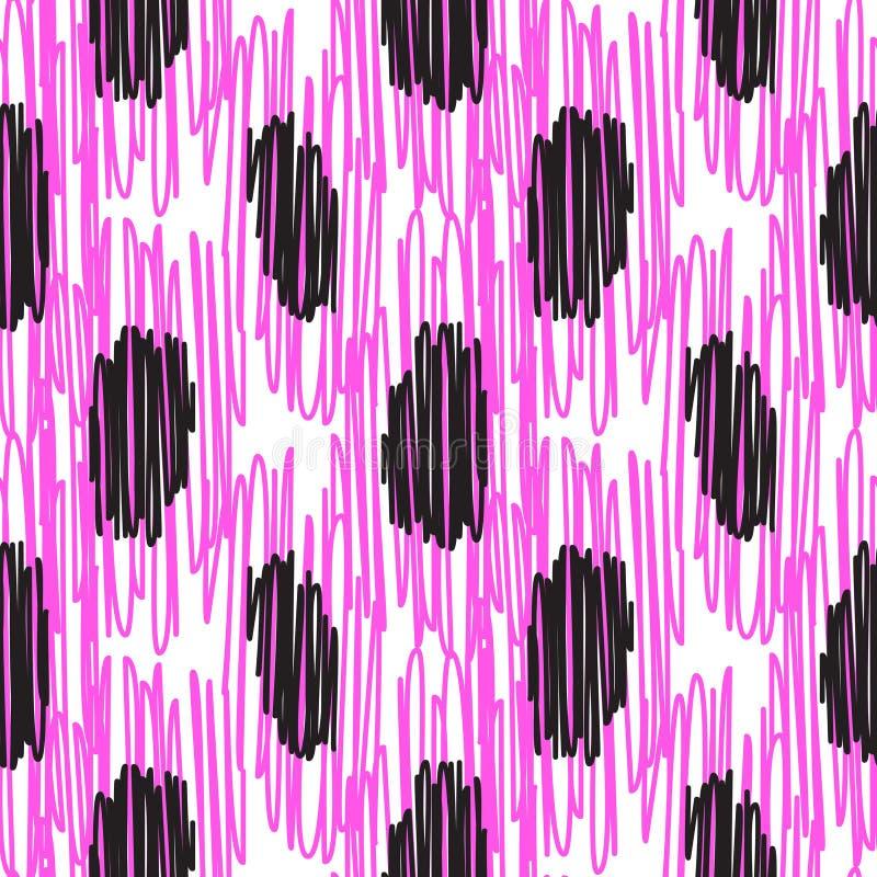 Rosa färger broderad grov vektor för prickmodell vektor illustrationer
