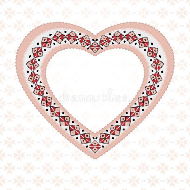 Rosa färger broderad hjärta vektor illustrationer