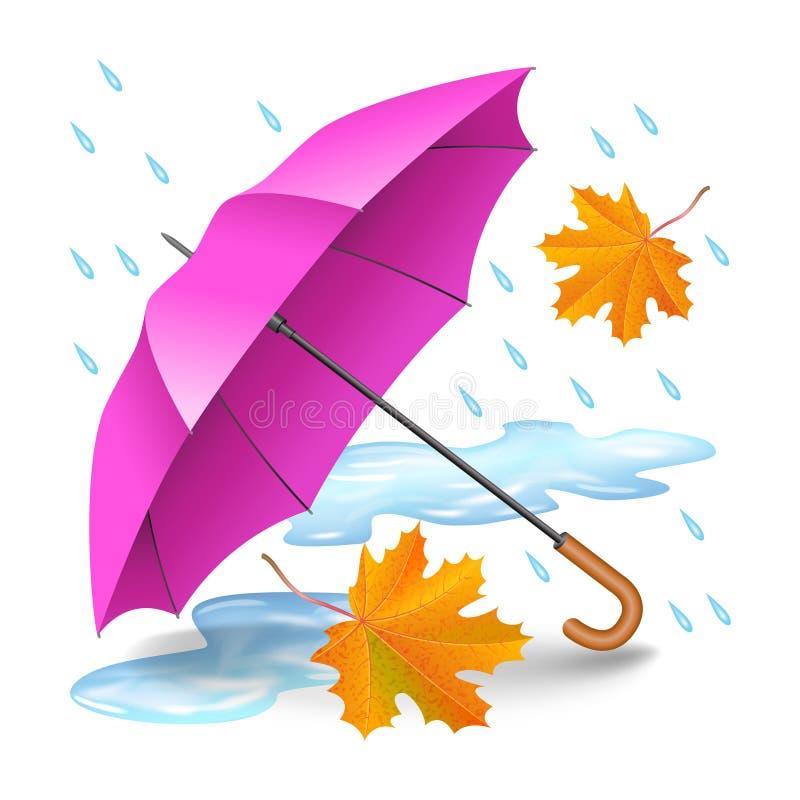 Rosa färger eller purpurfärgat realistiskt paraply med fallande orange sidor vektor illustrationer