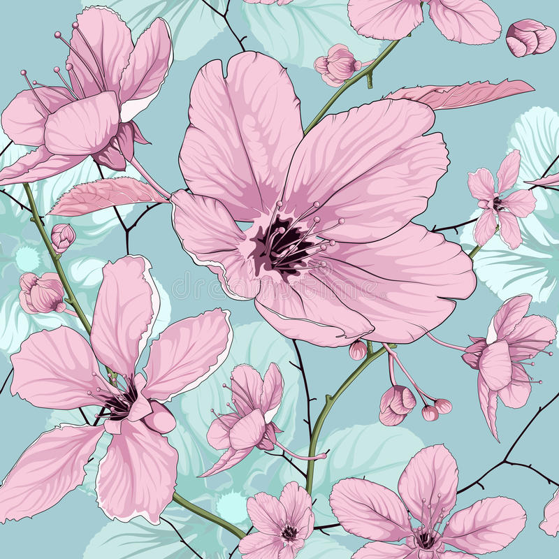 Rosa färger för blommamodell royaltyfri illustrationer