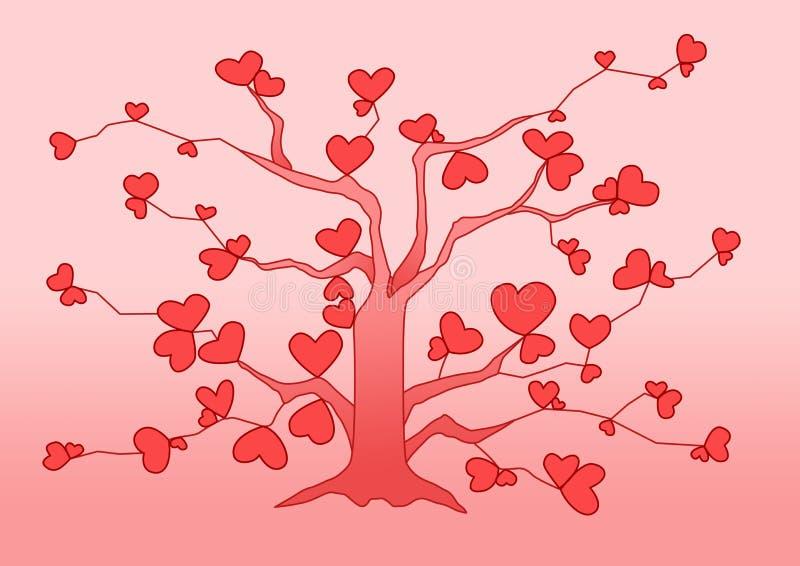 Rosa färger för designträdhjärta på rosa bakgrund royaltyfri illustrationer