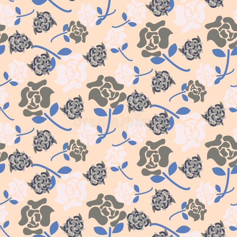 Rosa rosa färger för gräns och sömlös vektor för grå blom- modell royaltyfri illustrationer