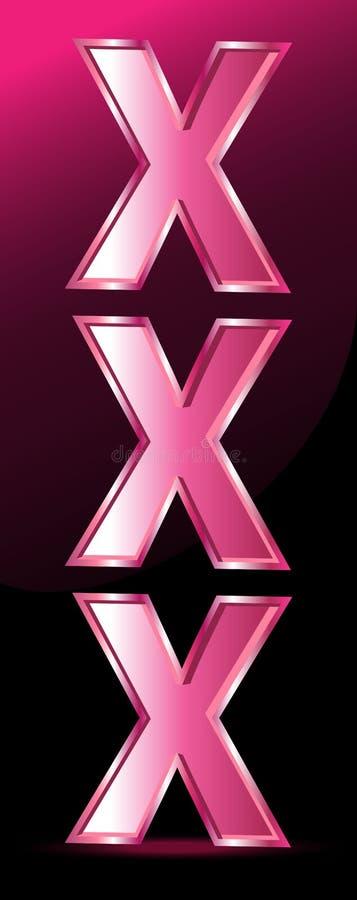Rosa färger för symbol Xxx stock illustrationer