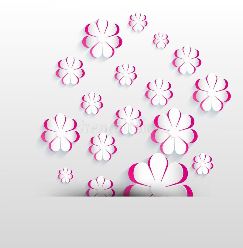 Rosa färger för vit för blommavårpapper stock illustrationer