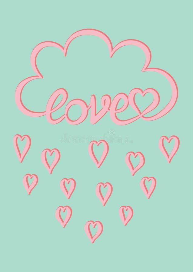 Rosa färger fördunklar med förälskelse för det skriftliga ordet för handen, och droppar för rosa färghjärtaregn på mintkaramellen stock illustrationer