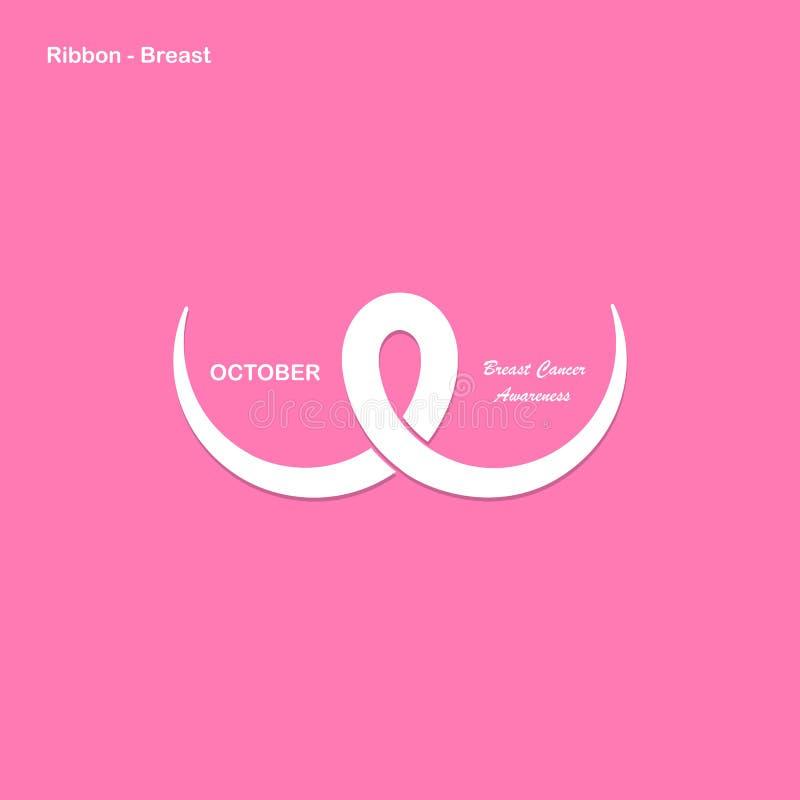 Rosa färger går mot, barm- eller bröstkorgsymbolen BröstcancerOktober medvetenhet royaltyfri illustrationer