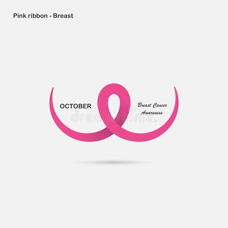 Rosa färger går mot, barm- eller bröstkorgsymbolen BröstcancerOktober medvetenhet stock illustrationer