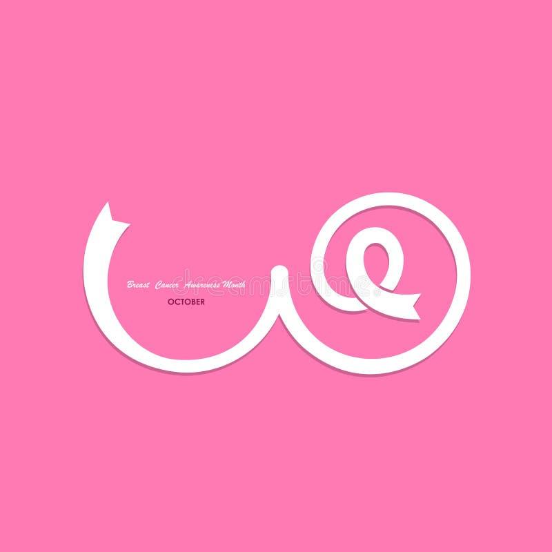 Rosa färger går mot, barm- eller bröstkorgsymbolen pink bandet Rosa färgomsorglogo Breas vektor illustrationer