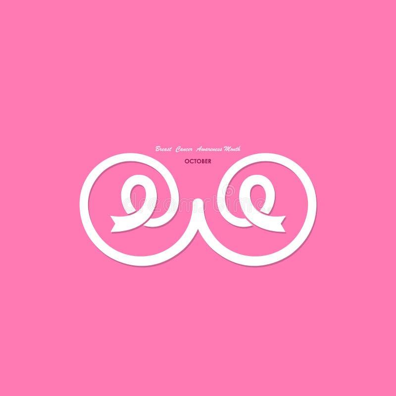 Rosa färger går mot, barm- eller bröstkorgsymbolen pink bandet Rosa färgomsorglogo Breas royaltyfri illustrationer